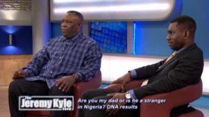 Jeremy Kyle'da gösterilen Nijeryalı adam, oğlu onun 32 yıl sonra değil bulduğunu gösteriyor