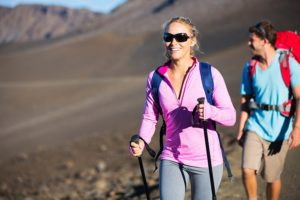 Childless couple hiking