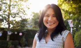 Childless happy Asian woman