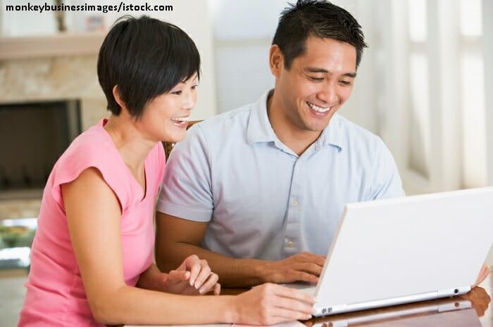 Happy Asian childless couple